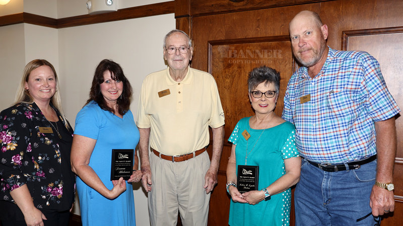 Angela Demarcus and Mayor Dale Kelley presented the Mayor's Award for Good Humor and Patience in the Public Service of the Arts 2019-2020 season goes to Jeaneen Blakeman (second from left); 20-21 season goes to Robert and Lynda Hudson (right).