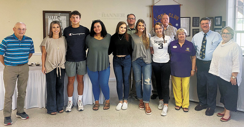 A.L. Spivey, LEO MHS Sponsor — Beth Mathis, MHS-LEO Senior Members: Andrew Cole, Raina Jones, Katelynn Lott, Dani Dyer, and Anna Grace Spivey; Lions President- Ed Long,  Chuck Sisson, Lions District Governor Linda Overstreet, Tom Smith and Letha Basford. McKenzie Lions Club guests at the September meeting included the senior members of the MHS LEO Club and their sponsor, Beth Mathis; and Lions Club District Governor Linda Overstreet.