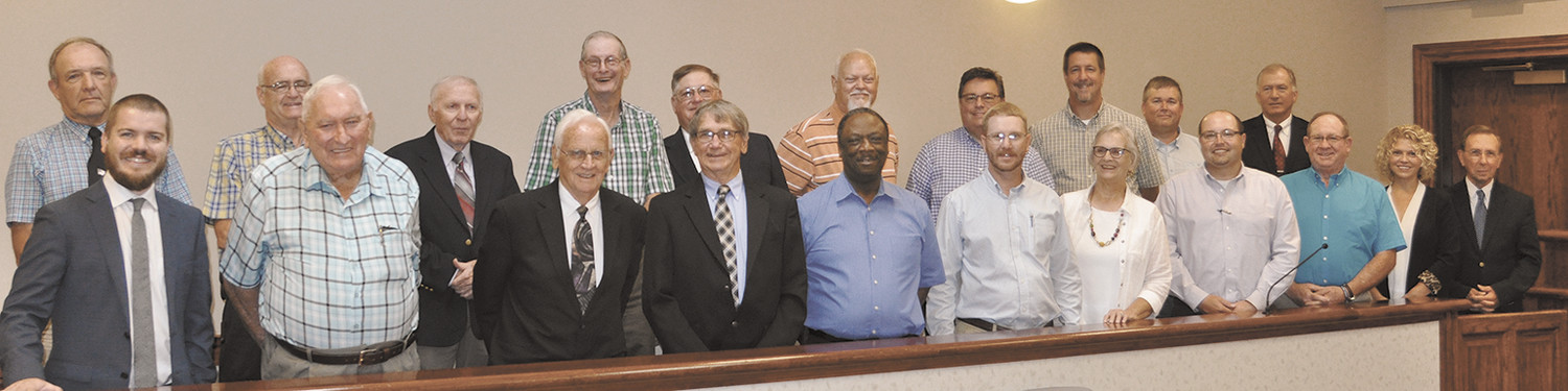 County Commissioners  and Mayor Butler (Front Row): Mayor Joseph Butler, and commissioners John Mann, Larry Spencer, Steve Parker, Willie Huffman, Jeremy Fowler, Paula Watkins, Brian Winston, Vince Taylor, Lori Nolen, and Joel Washburn. Back Row (L to R): Johnny Blount, Jimmy McClure, Bobby Argo, Ronnie Murphy, Hal Eason, Manuel Crossno, Jeff Carter, John Austin, Darrell Ridgely, and Randy Long.