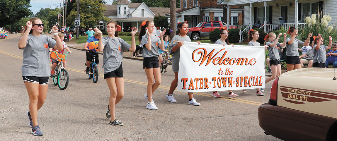 The presentation of the Tater Town special banner started the parade.