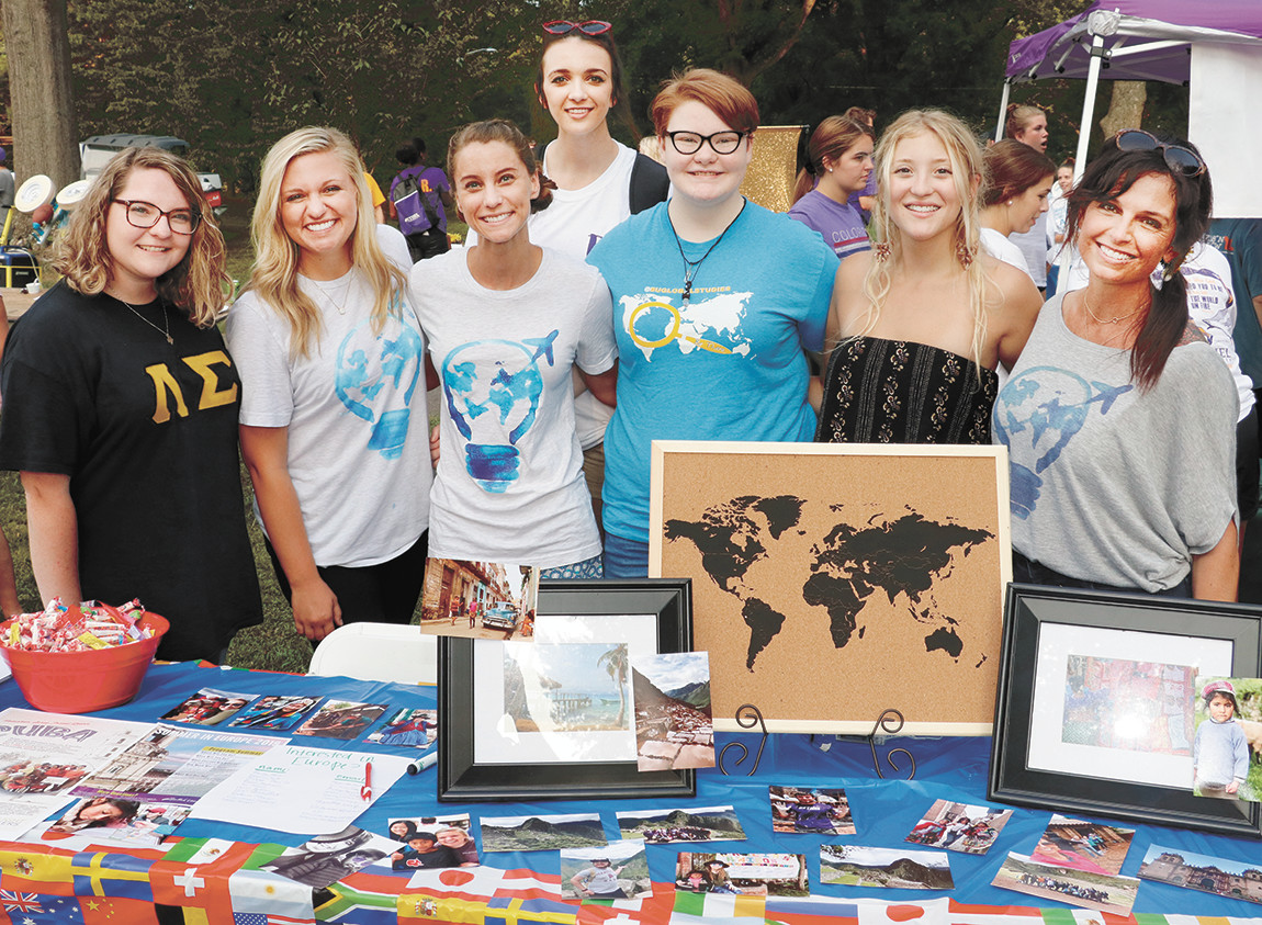 Bethel's Global Studies Group – Kelsey Hayes of Benton, Kentucky, Emma Koelling of Jefferson City, Missouri, Kayley Grisham of McKenzie, Amber Putt of McKenzie, Sami Rash of Greenfield, Natalie Marvel of Harrisburg, Illinois, and Stacie Freeman, advisor at the Freshman Carnival inviting new students to travel.