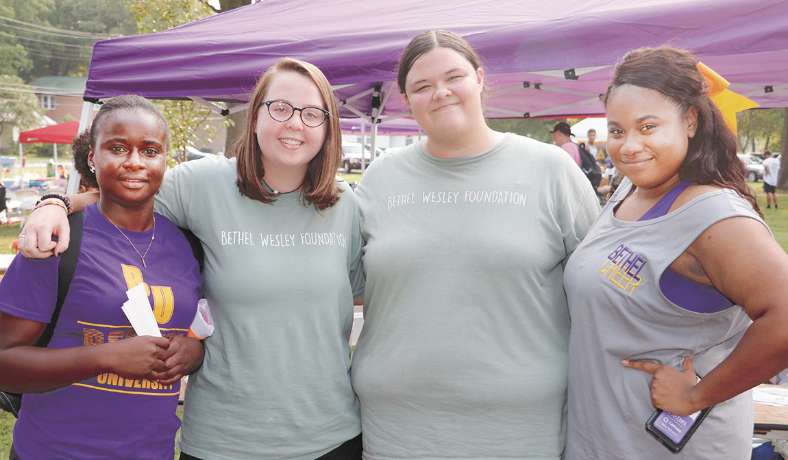 Bethel Methodist Wesley Foundation, a Methodist student organization – Rachel Nzeno, of the Congo, Brooke Cagle of Jackson, Ashley Powers of Milan, and Ashley Richmond of Memphis at the Freshman Carnival asking new students to join, worship and serve with them.