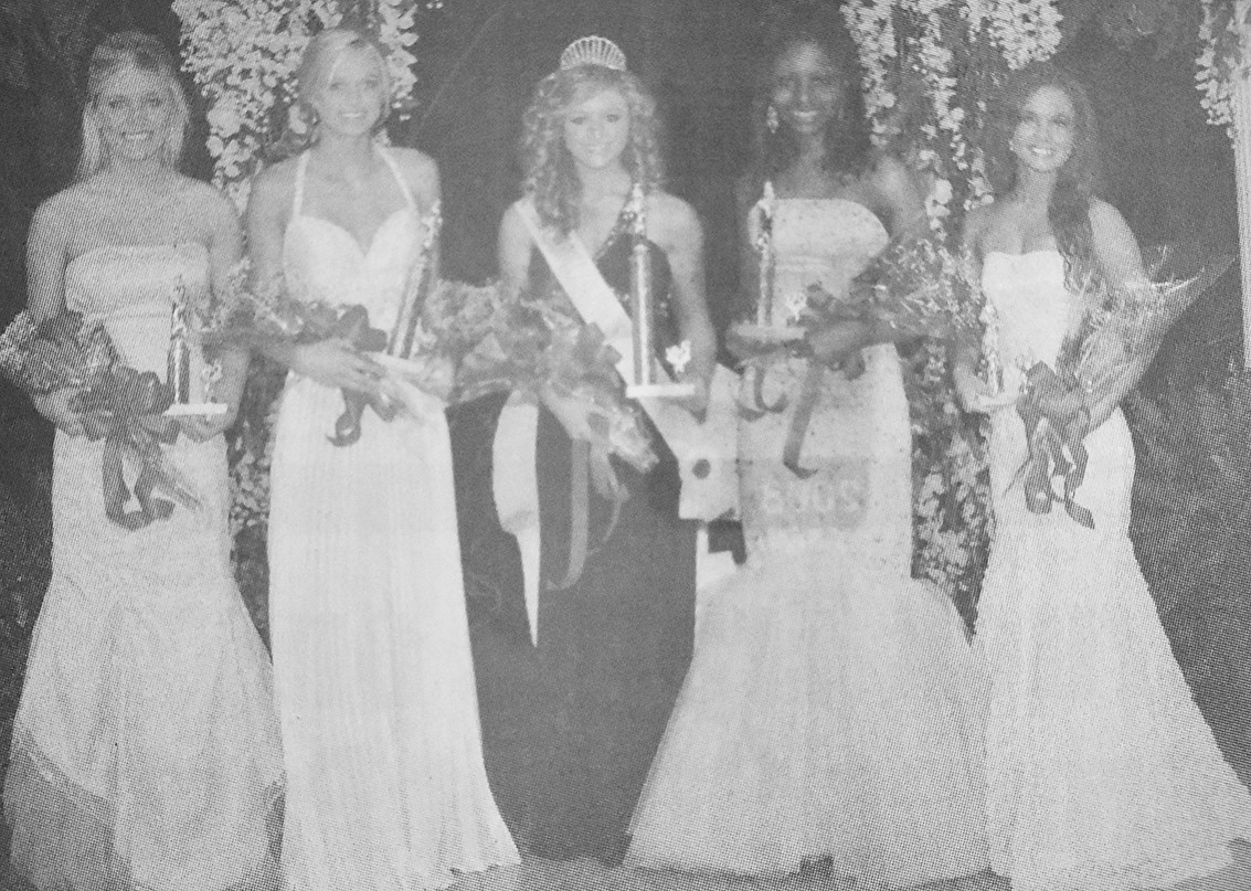 10 YEARS AGO — Carroll County Fairest of the Fair Royalty (L to R): Third Maid Ashley Witherspoon, First Maid Erica Yarbro, Queen Kami Hopper, Second Maid Jessica Govan and Fourth Maid Samantha Wheat.