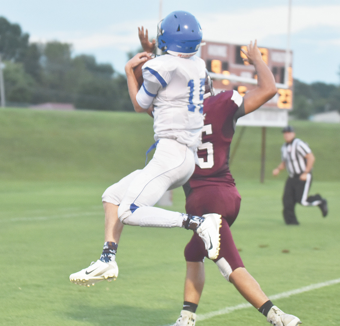 Tiger Zane Mebane makes a catch as he crosses the goal line in midair to put Central on the board.