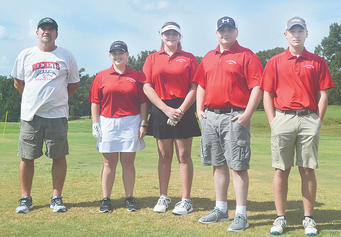 Clarksburg High School Golf Teams From (L to R); Coach Mike Limbaugh, Samantha McCaslin, Shelby Swinford, Josh Stoner, and Myles Rogers.
