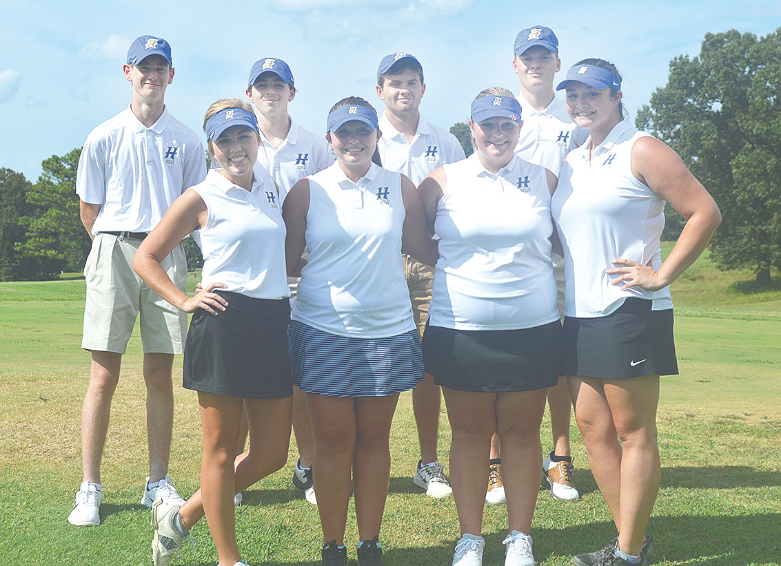 Huntingdon High School Golf Teams Girls (L to R): Katie Chase, Leslie Sanders, Natalie Taylor, and Angelina Culley. Boys (L to R): Ben Taylor, Jacob Wilkes, Clay Pinson, Ethan Ricketts, Coach Mike Henson.