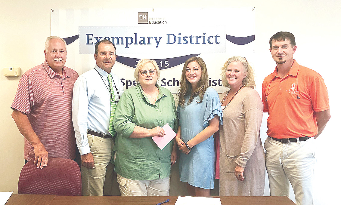 Pictured (L to R) are Lance Rider, Lynn Watkins, Elaine Brown, Isabella Colotta, Jan Latimer, and Jon Davis. Brown was recognized for her service to the McKenzie Special School District.