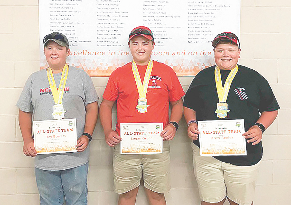 Tennessee SCTP Academic All-State Award winners from the McKenzie Shooting Sports Team (L to R): Trey Bowers, Logan Green and Drew Beeler. Not pictured are Spencer Higdon and Jacob Pinson.