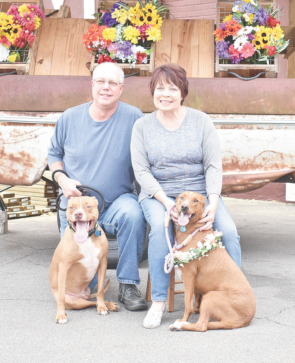 Randall and Beverly Wilson brought Finn (left) and Janet to the party. Both dogs came from the shelter and both only have three legs, Finn due to an injury and Janet due to a deformity.