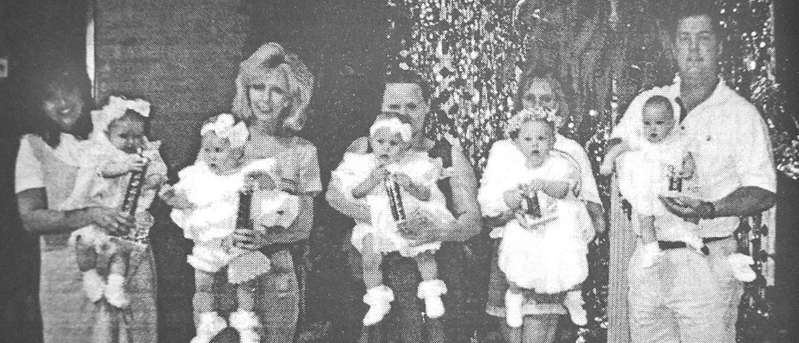 20 YEARS AGO — Carroll County Fair Baby Show winners, 6-12 months girls (L to R): First Place Mattie Moore, Second Place Tera Townsend, Third Place Jacqualine Sawyer, Fourth Place Rachel Rorer and Fifth Place Sara Churchwell.