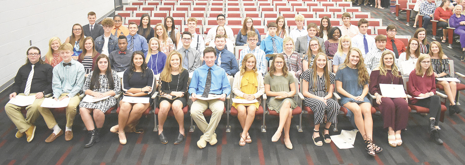 McKenzie High School Beta Club new inductees (L to R): Front Row — senior Caleb Huddleston, juniors Riley Joyner, Ellania Moreno and Celinas Phifer and sophomores Lilly Bennett, Brandon Boaz, Haley Brasfield, Emilie Brewer, Ashleigh Britt, Anna Callahan, Presley Chadwick and Ruby Chantler; Second Row — sophomores Allie Chappell, Claire Cottrill, Jaden Currie, Ashlyn Drewry, Tyler Fann, Will Gallimore, Austin Gant, Maggie Glass, Aubree Glissen, Kennedy Green, Logan Green, Olivia Henderson and Savanah Hill; Third Row — sophomores Hannah Jowers, Will Latimer, Logan Lyles, Lauren Mansfield, Lincoln McReynolds, Annabelle Medford, Andrew Murphy, Nathan Nanney, Savannah Nesbitt, Elijah Seivers, Nicholas Smiley and Lyndsey Summers; Back Row — sophomores Eli Surber, Austin Taylor, Graycie Turner, Stephanie Vazquez, Dominic Ventura, Presley Wallace, Anna Washburn, Chase Webb, Gracie Webb and Richard Clay Wilson. Not pictured is sophomore Johnathan Moore.