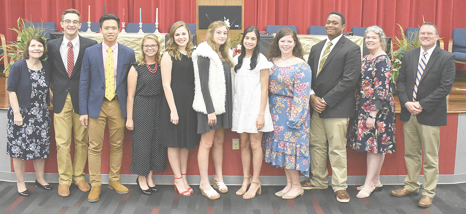 From left, McKenzie High School Beta Club sponsor Beth Bailey, spokesman Nathan Rorer, Parliamentarian Jackey Zheng, President Julianna Cole, Treasurer Macey Ognibene, Reporter Isabella Colotta, Co-Secretaries Momi DeLoach and Hannah Adkins, Vice-President Braxton Hobson and sponsors Lizz Gonzalez and Kevin Gallimore.