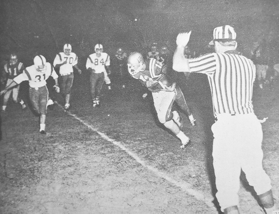 50 YEARS AGO — Rebel quarterback George L. Abernathy scores McKenzie's first touchdown of the season. The Rebels opened with a 38-20 win over Paris-Grove.