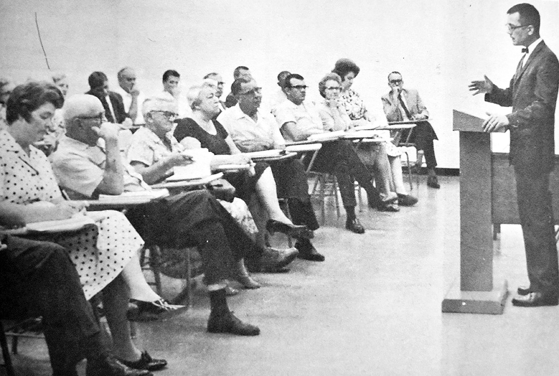50 YEARS AGO — Bethel College was the site of an Area Study Conference for area residents to examine a variety of societal problems. Pictured addressing participants is Bethel Social Science professor Dr. James Potts, who served as director of the conference and head of a permanent Area Study Institute established at Bethel.