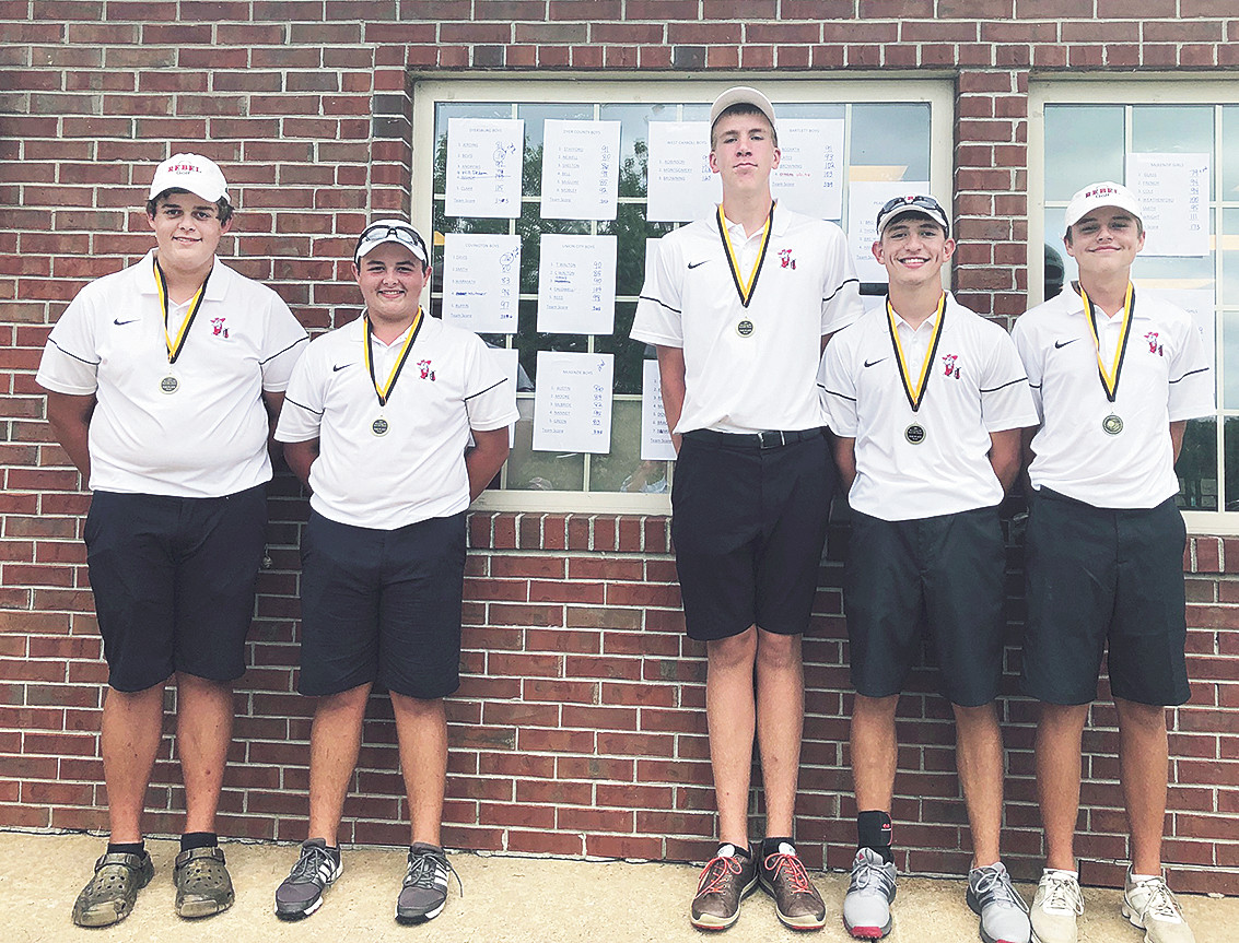 The McKenzie boys placed second at the Dyersburg Invitational. Pictured are (L to R): Nathan Nanney, Logan Green, Ben Austin, Will McBride and Johnathan Moore.
