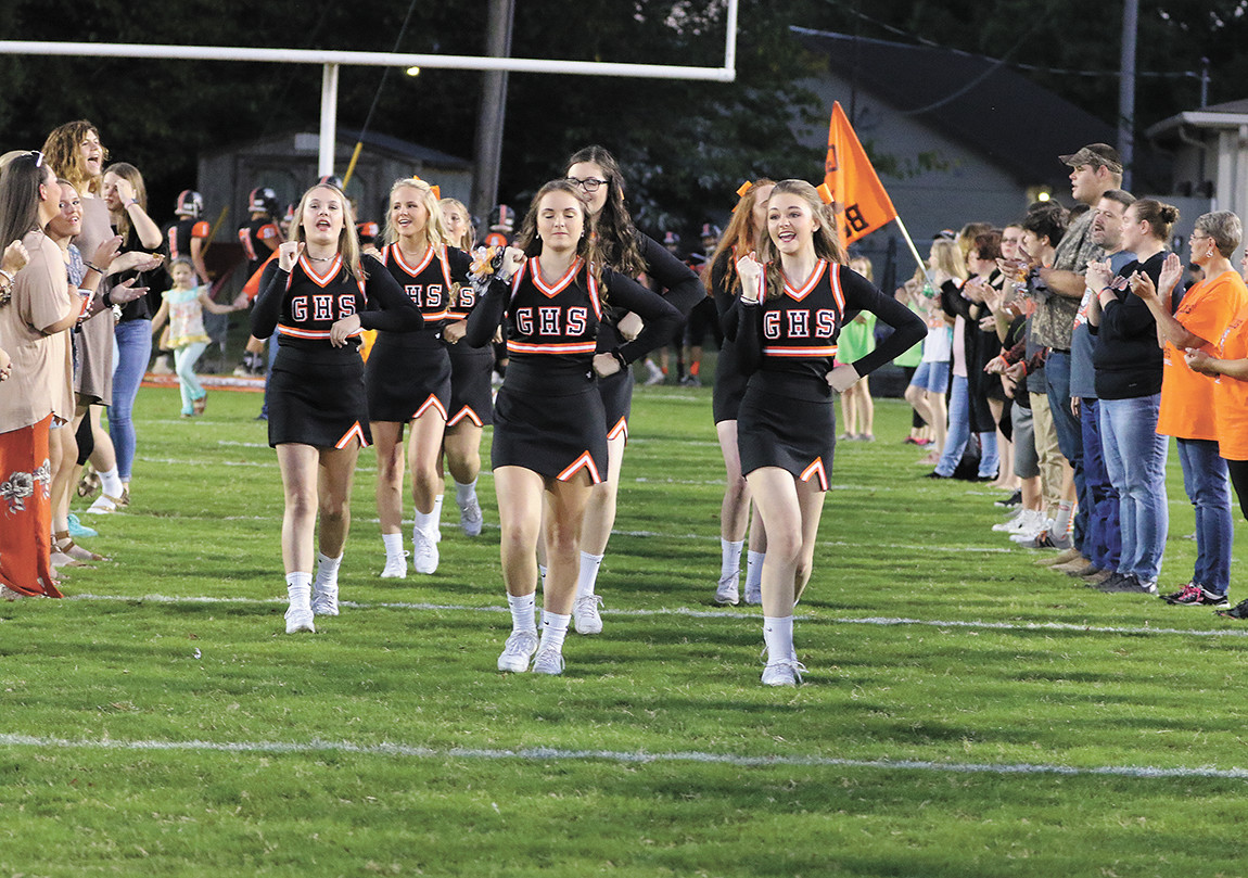 Gleason Cheerleaders cheer on the Gleason fans during pre-game activities. Cheerleaders include: Hannah Whitworth, Belle Fowler, Madison Fuzzell, Haley Harrison, Cheyenne Lamb, Lilly Ruesken, Darcie Bell, Gracie Long, and Amberlee Watson.
