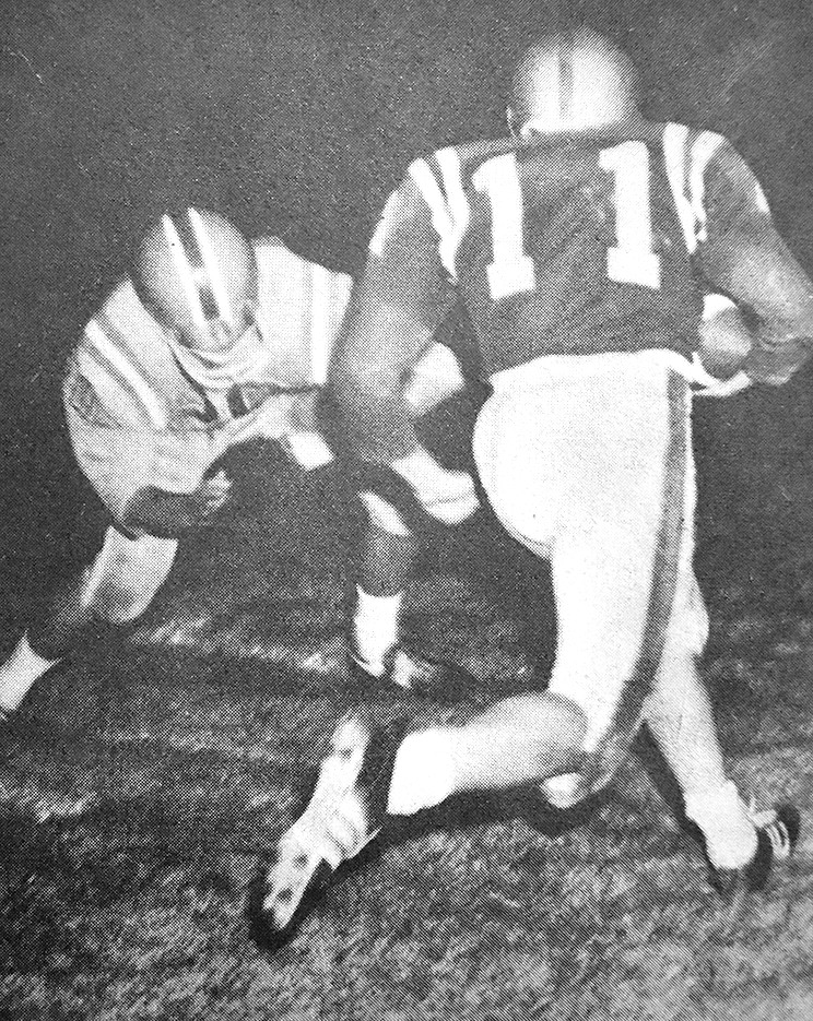 50 YEARS AGO — Rebel Dan Branon scores a touchdown in McKenzie's 27-7 win over the Northside Indians.