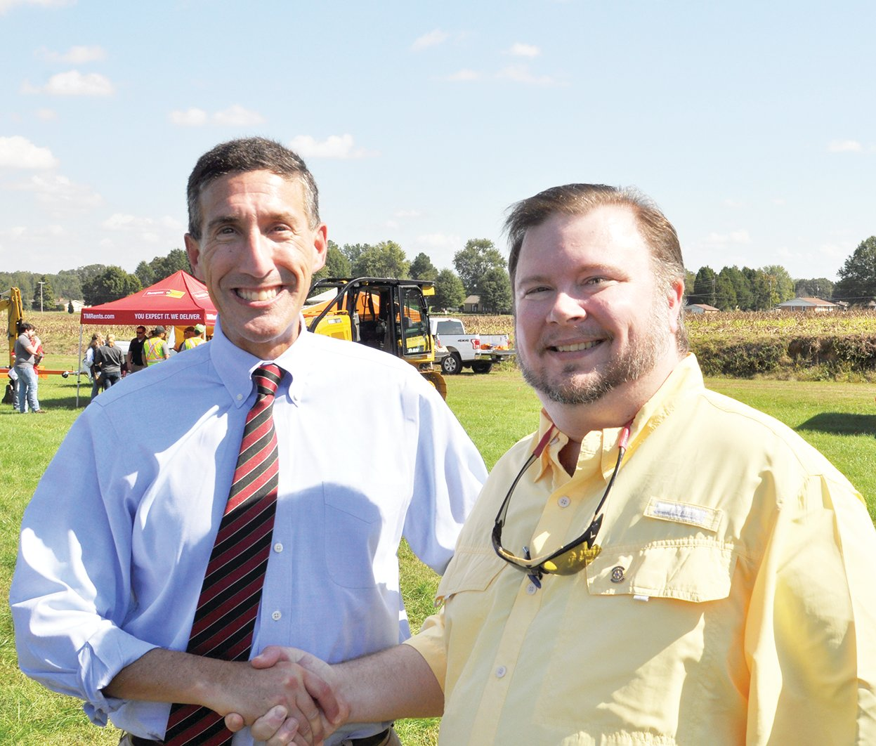 Congressman David Kustoff visits with McKenzie City Councilman Jason Martin. Martin serves as Rotary International's Assistant District Governor over Gleason.