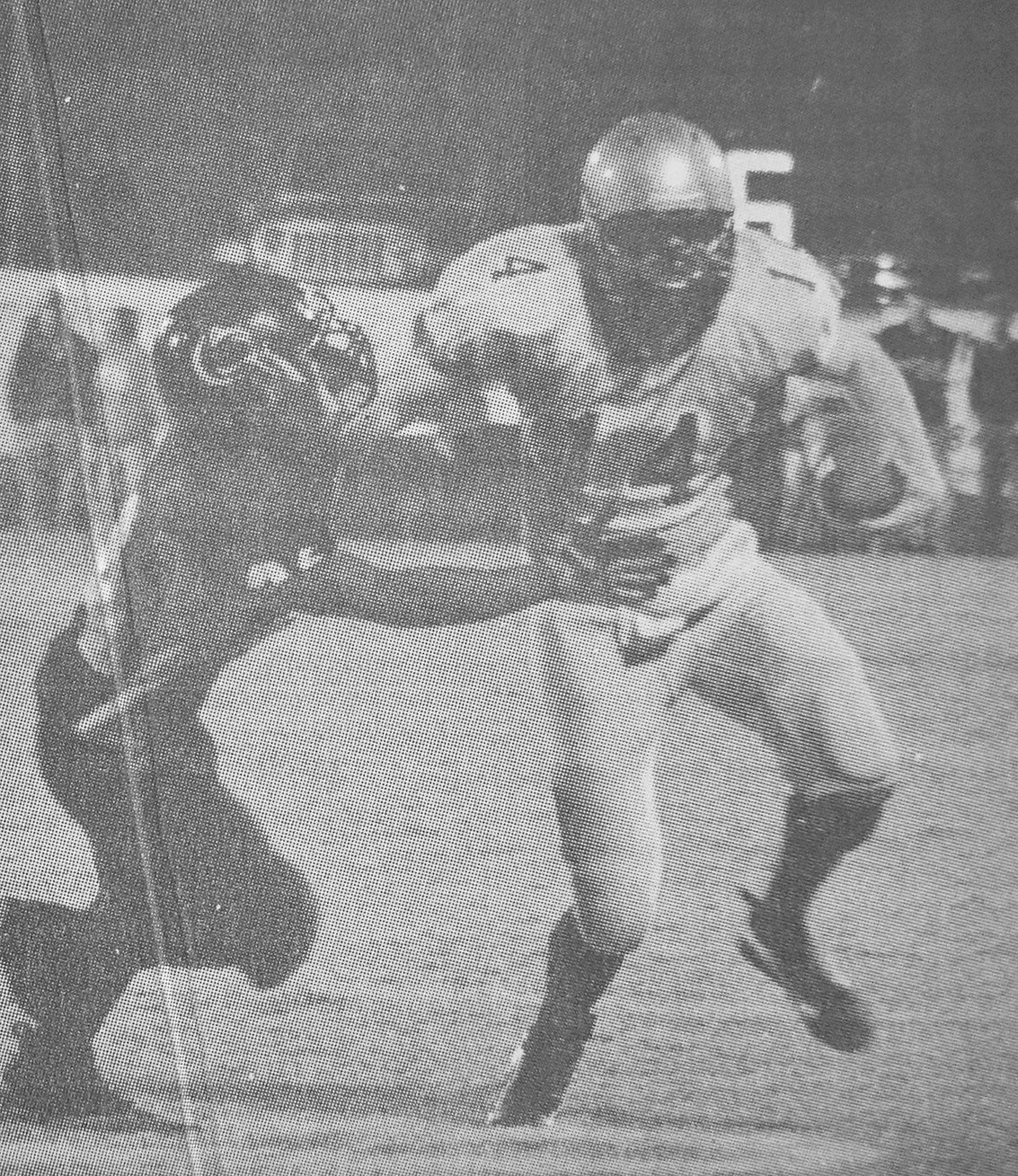 10 YEARS AGO — Mustang quarterback Colin Hatch stiff-arms a Lion defender in Huntingdon's 38-7 loss to Camden.