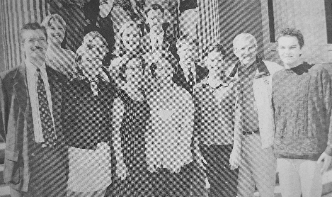 20 YEARS AGO — McKenzie High School journalism students meet with Governor Don Sundquist during a Republican campaign rally in Huntingdon. Pictured are (L to R): Front Row — teacher Dan Ridley, Lisa Bradfield, Kelly Peters, Kristi Lewis, Anna Garrett, Governor Sundquist and Alex Alles; Second Row — Tiffany Byrd, Dana Sanders, Elizabeth Snead and Trent Rutledge; Back Row — John Lankford.
