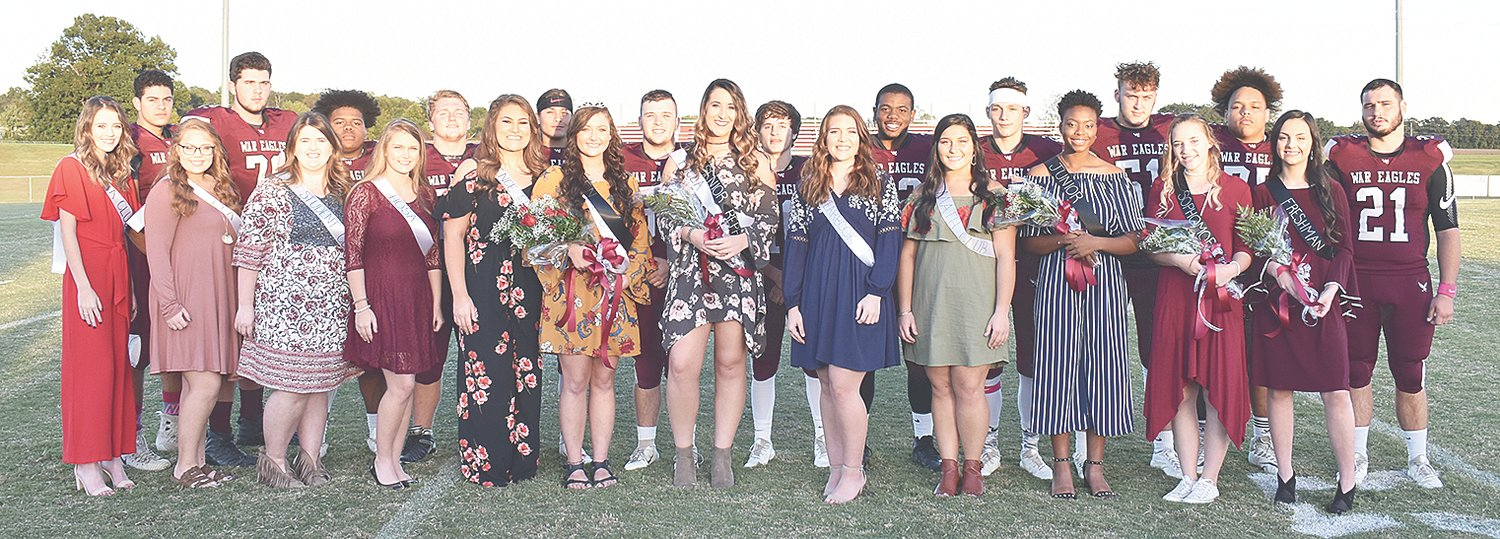West Carroll Homecoming Court (L to R): Kayce Stafford, escorted by Trace Fuller; Anna Woddall, escorted by Luke Blankenship; Kendall Hicks, escorted by Armoni Bonds; Autumn Aberle, escorted by Levi Hays; Hannah Lenard, escorted by Blaine Howell; Queen Sadie Martin, escorted by Blake Davidson; Shelby Browning, escorted by Kyler White; Amelia McAfee, escorted by P.J. Odom; Heather Baugh, escorted by Shae Crocker; Jana Clark, escorted by Hunter Wadley; Alyssa Butler, escorted by Darrell Williams; and Hannah Waters, escorted by Devin Nash.
