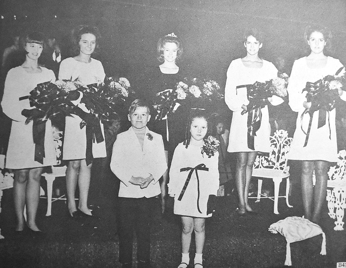 50 YEARS AGO — Gleason High School Homecoming Royalty (L to R): Freshman Maid Debbie Steele, Junior Maid Debbie Jones, Queen Pam Floyd, Senior Maid Vickie Wray and Sophomore Maid Sherry Suddath. In front are flower girl Teresa Tucker and crown bearer Dwayne Wray.