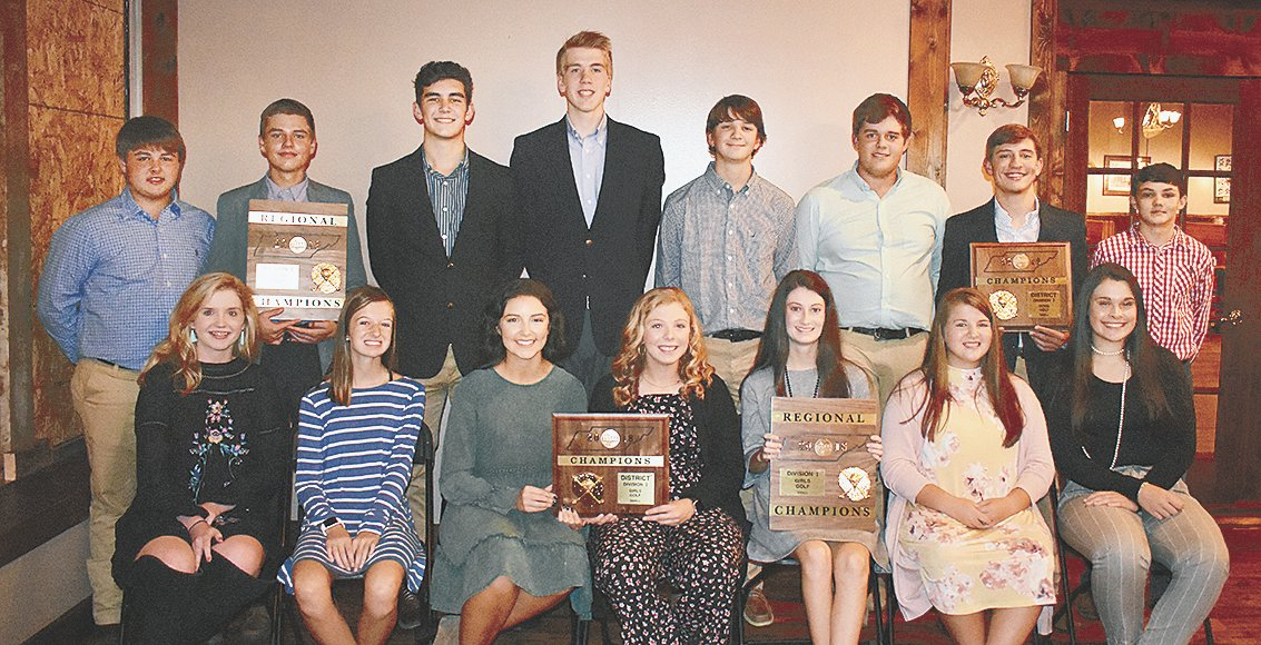 McKenzie High School golfers (L to R): Seated are Lady Rebels Maggie Glass, Juleyanne Weatherford, Olivia Wright, Julie French, Mallory Cole, Jayden Tucker and Whitley Smith; standing are Rebels Logan Green, Johnathan Moore, Lane Horton, Ben Austin, RC Wilson, Nathan Nanney, Will McBride and Colin McLearen.