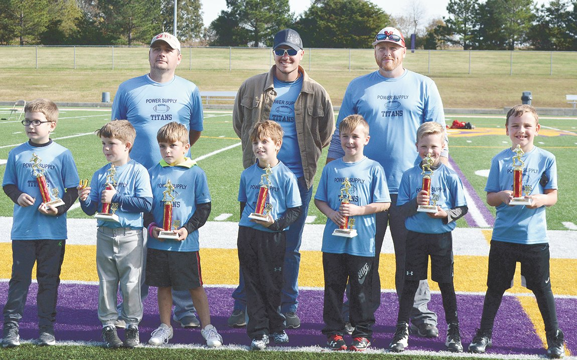 Power Supply Titans-K-2 McKenzie Youth Football League Champions: Hunter Shafer, Colton Cobb, Cayden Gordon, Seth Stafford, Lane Brown, Camden Papich, and Briggs Rowland. Coaches Bubba Stafford, David Gordon and Chad Brown.