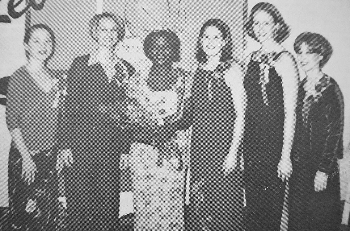 20 YEARS AGO — McKenzie High School Basketball Homecoming Royalty (L to R): Erin Hayes, Tiffany Lee, Queen Jessica Nolen; Kerri Basford, Nikki Hartz and Kristi Lewis.