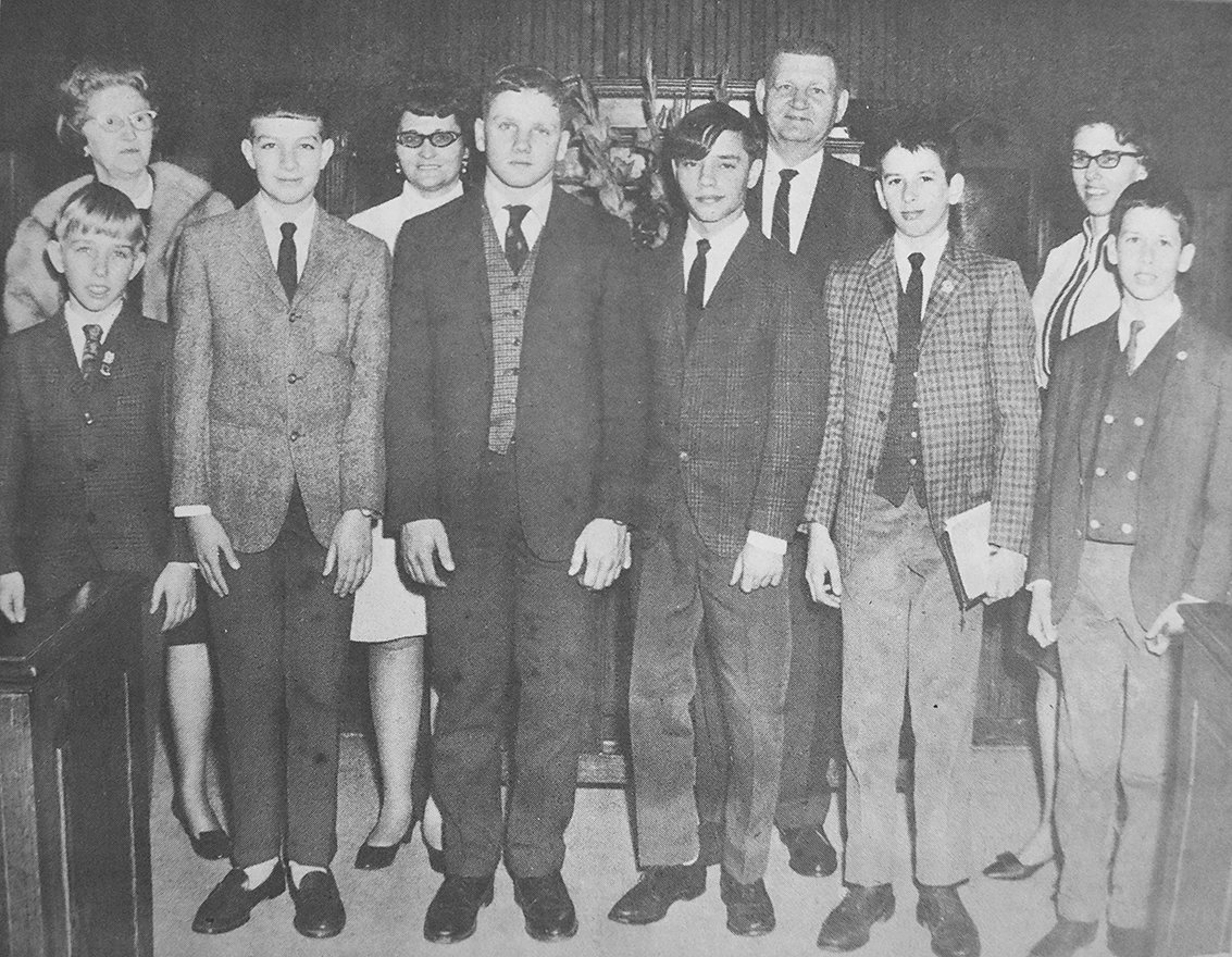 50 YEARS AGO — Members of First Baptist Church with perfect Sunday School attendance for one year or more (L to R): Front Row — Joel Washburn, four years; Dan Bradfield, seven years; Dan Branon, seven years; Jeffery Washburn, four years; Bruce Coleman, two years; and Dale Coleman, one year; Back Row — Mrs. John McDade, eight years; Mrs. Leroy Stafford, one year; Alton Reynolds, one year; and Ramona Washburn, two years. Not pictured were James Choates, one year, and Paul Baker, one year.
