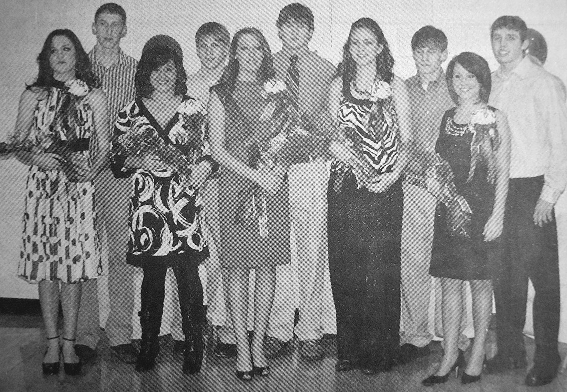 10 YEARS AGO — McKenzie High School Homecoming Court with escorts (L to R): Josie Carlton, Hunter Herrin, Tenisha Carey, Mark Newman, Queen Mignon Salameh, Nick Chappell, Amber Nunnery, Zach Hinson, Elizabeth Russell and John Johnson.
