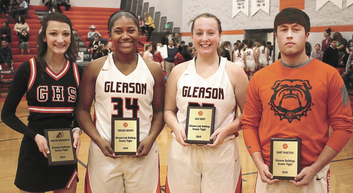 Gleason's seniors were honored during the break between the girls's and boys' contests. They are: Hannah Whitworth,  Shelbie Burton, Ally Spain, and Hart McKenzie.