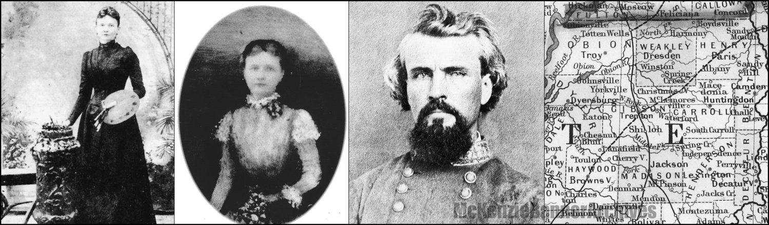 Far Left, Joseph Anna Hawkins (Cole) 1848-1917.  Left, Annie Hawkins age 17. It was in this time frame she lived through the Civil War.  Right, Nathan Bedford Forrest.  Far Right, 1860 Map of Western Tennessee.
