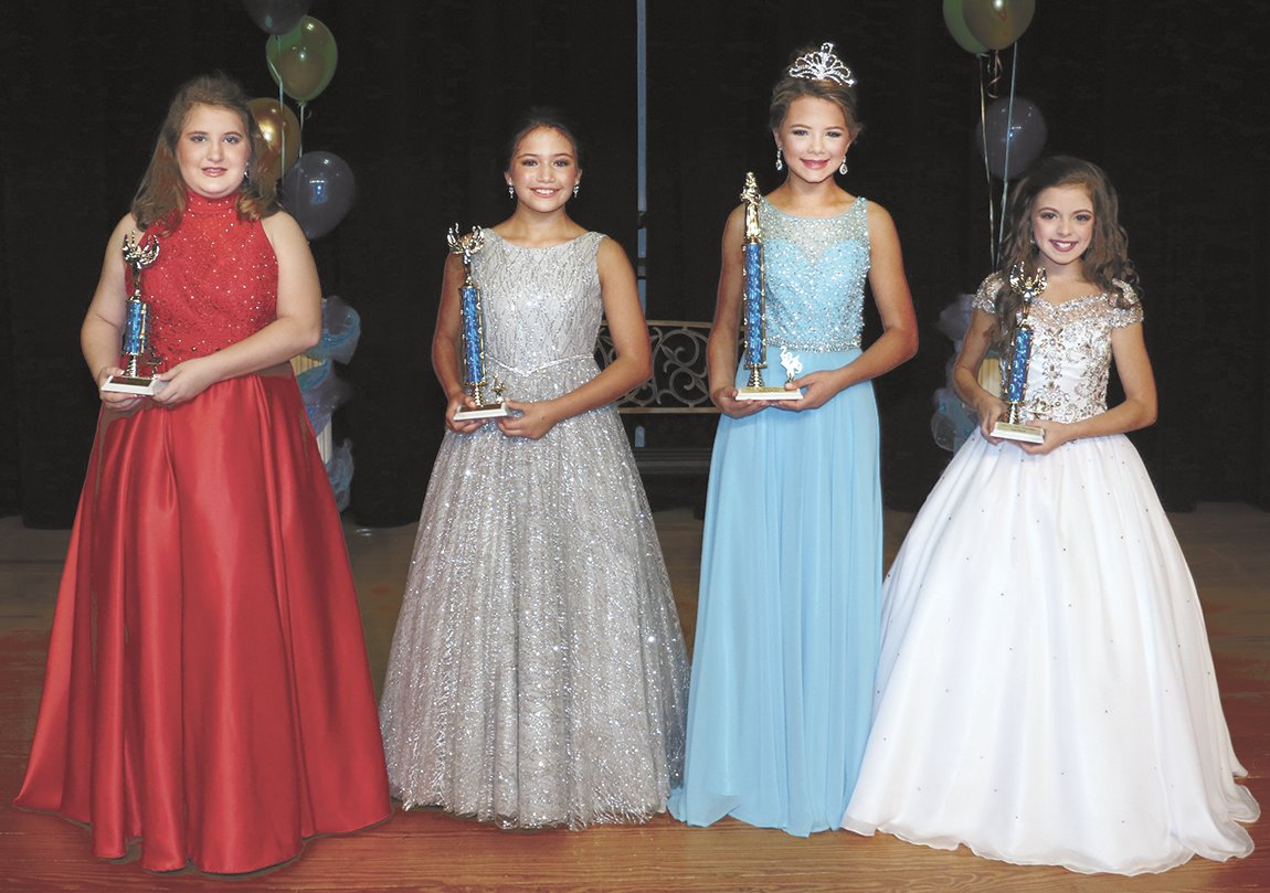 Junior Miss Huntingdon Ages 10-12 (L to R) Third Maid McCauley Spellings, daughter of Michael and DeAnn Spellings; First Maid Celeste Perez, daughter of Jorge and Marisa Perez; Queen Mileigh Hilliard, daughter of Joe Hilliard and Wesley and Janet Foutch; and Second Maid Madisyn Barton, daughter of Chris Barton and Crystal Locke.
