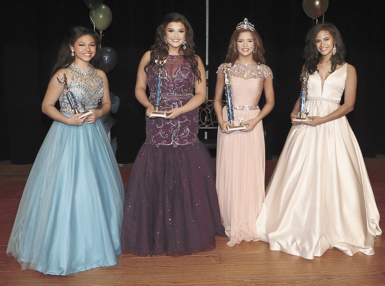Teen Miss Huntingdon Ages 13-15 (L to R) Third Maid Briana Paige Umstead, daughter of Xavier Pittman and Paige Umstead; First Maid Hailey Grace Rich, daughter of Chris Rich and Delana McClure; Queen Jenna Magee, daughter of Michael and Jamie Magee and Stanley and Kim Carter; and Second Maid Areana Nunley, daughter of Candace Nunley and the late Jimmy Nunley.