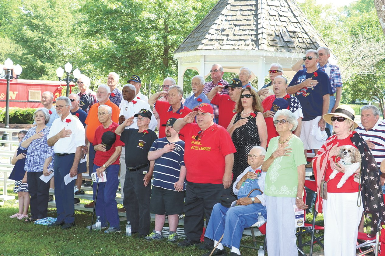 Veterans were seated as a place of honor at the Huntingdon Memorial Day Event.