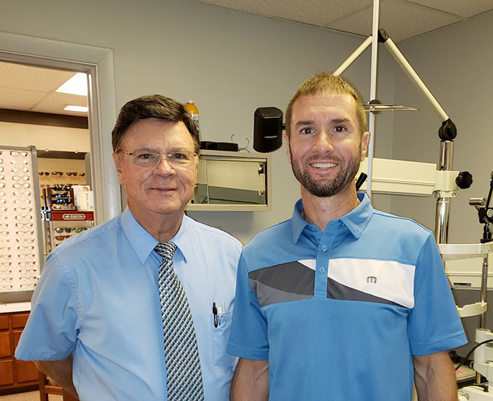 Second and third generation optometrists Dr. Tom and Dr. Mark Smith.