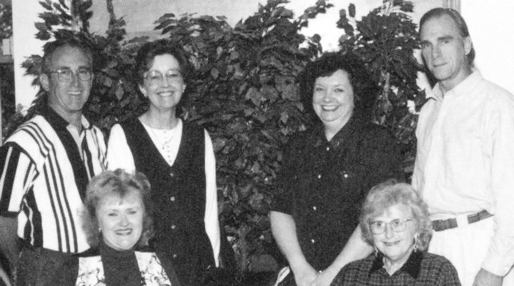 Class of 2000 sponsors, 1996-1997 school year. (L to R): Charles Pruneau, Glynda Corbin, Karen Camp, Patricia Sawyers, Kathy Hull and Timothy Johnson.