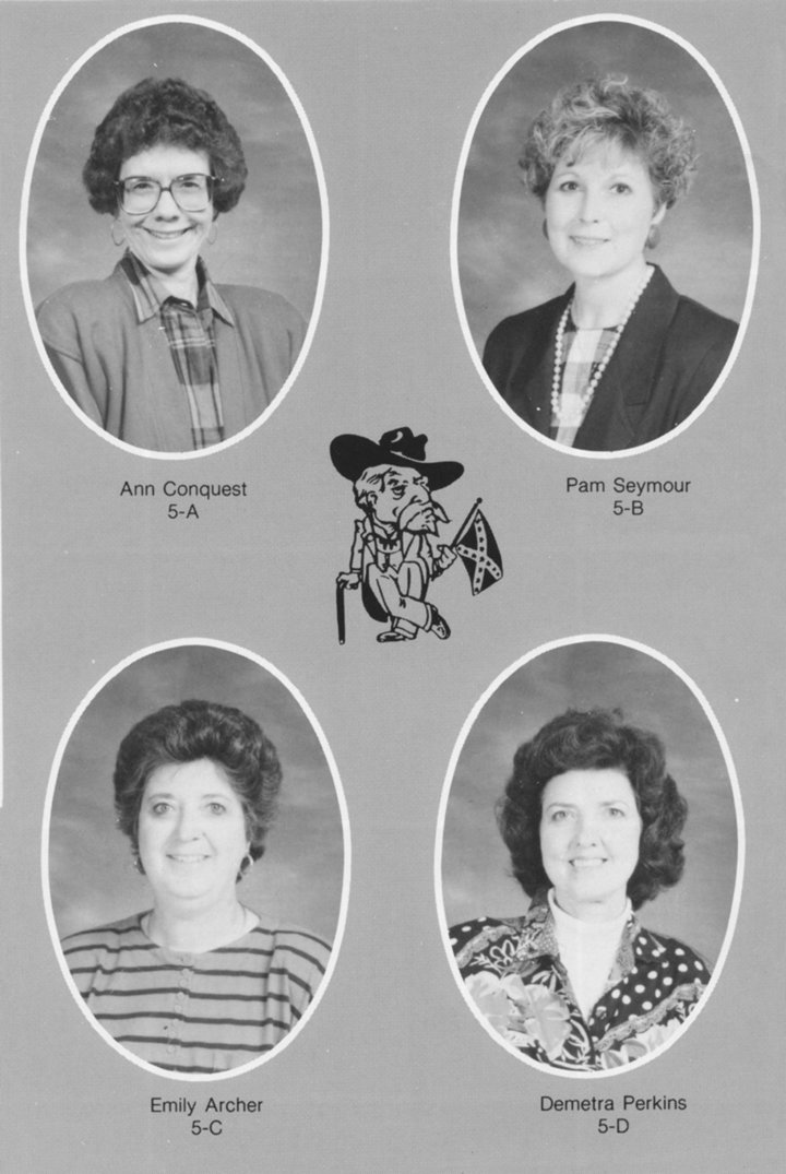 McKenzie Elementary fifth grade faculty, 1992-1993 school year. Anne Conquest (5-A), Pam Seymour (5-B), Emily Archer (5-C) and Demetra Perkins (5-D).