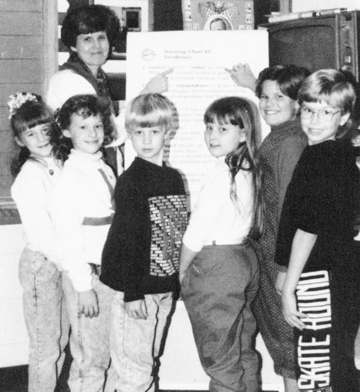 Mrs. Chism's third grade class, 1990-1991 school year. (L to R): Sarah Bennett, Mrs. Keitha Chism, Amy Howell, Joseph Newman, Dana Sanders, Kerri Basford and Jason Martin.