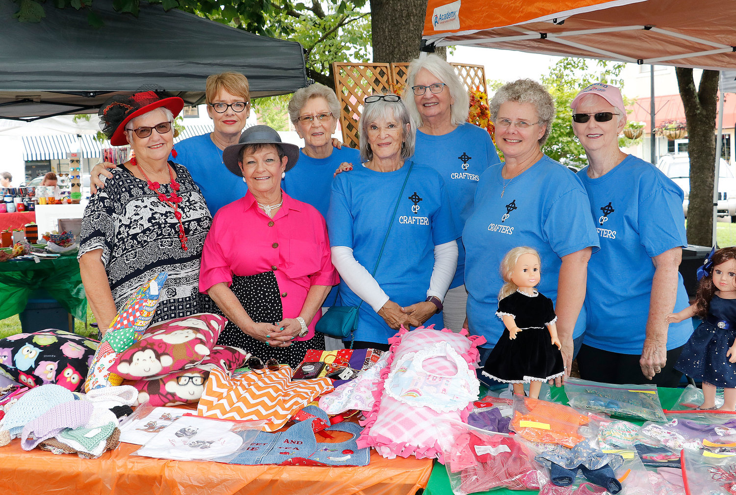 The First Cumberland Presbyterian Church ladies display some of the crafts. Some were also in costume as actors in the Southern Fried Funnies.