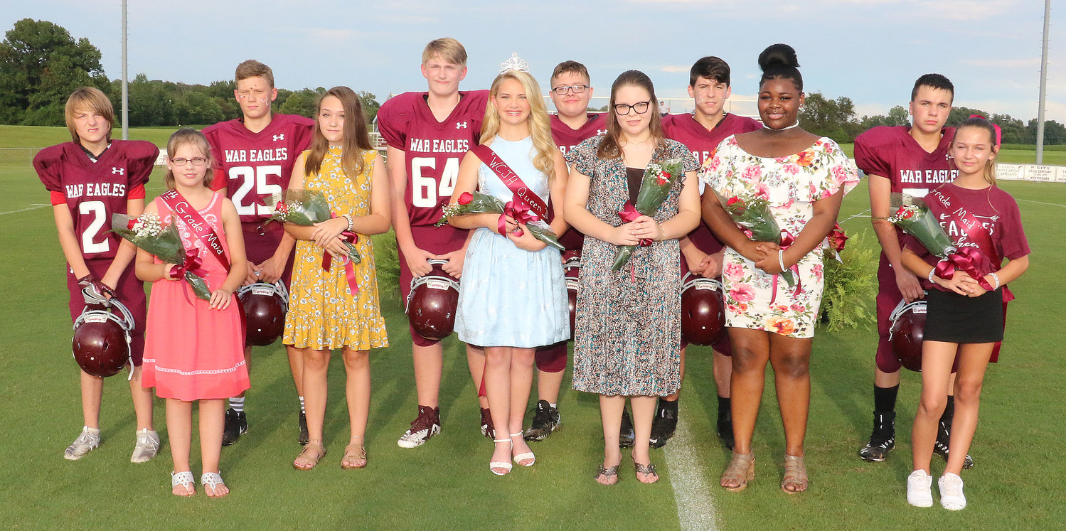 The court included: (L to R) Jayden Matthews, seventh grade, daughter of Johnny and Tracy Matthews of Trezevant. She was escorted by Brannon Black, son of Bobbie Ewrin of Atwood; Jolie Lowery, eighth grade, daughter of David and Sissy Lowery of Trezevant. She was escorted by Will Rogers, son of Daniel and Kelli Rogers of Cedar Grove; Queen Olivia Arnold, who was escorted by Hayden Holley, son of Travis and Christina Hampton of Cedar Grove; Paisley Coffman, eighth grade, daughter of Avery and Shenna Coffman. She was escorted by Joe Vermillion, son of Jimmy and Cassie Vermillion of Atwood; Zaykia Newbill, eighth grade, daughter of Avery Scates and Angel Newbill. She was escorted by Jon Coleman, son of Harold and Dalira Coleman of Huntingdon; and Lesley Baker, sixth grade, daughter of Robin and Jean Drinkard of Cedar Grove. She was escorted by Michael Adkins, son of Eric and Brittany Adkins of Huntingdon.