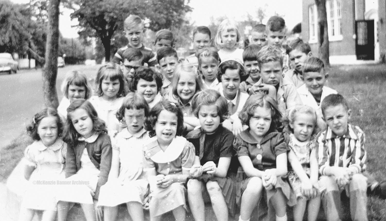 McKenzie Elementary First Grade 1954-55. Members pictured: Linda Waldrup, Ann Sexton, Mary B. Wheat, Donna Ward, Emily Young, Ruth Ann Wiley, Judy Seagraves, Joe Sasser, Mary Ruth Scott, Pat Stone, Jean Swearingen, Beverly Sparks, Beverly Summerlin, Rollin Trull, W. L. Shell, Roy Williams, Marvin Williams, Johnny Thompson, Katie Wallace, Bruce Wilkinson, Don Wallace, Buddy Wiggleton, Skip Trevathan, Beverly Travillian, Wylie Wilson, and Billy Thompson. Photo submitted by Donna Ward.
