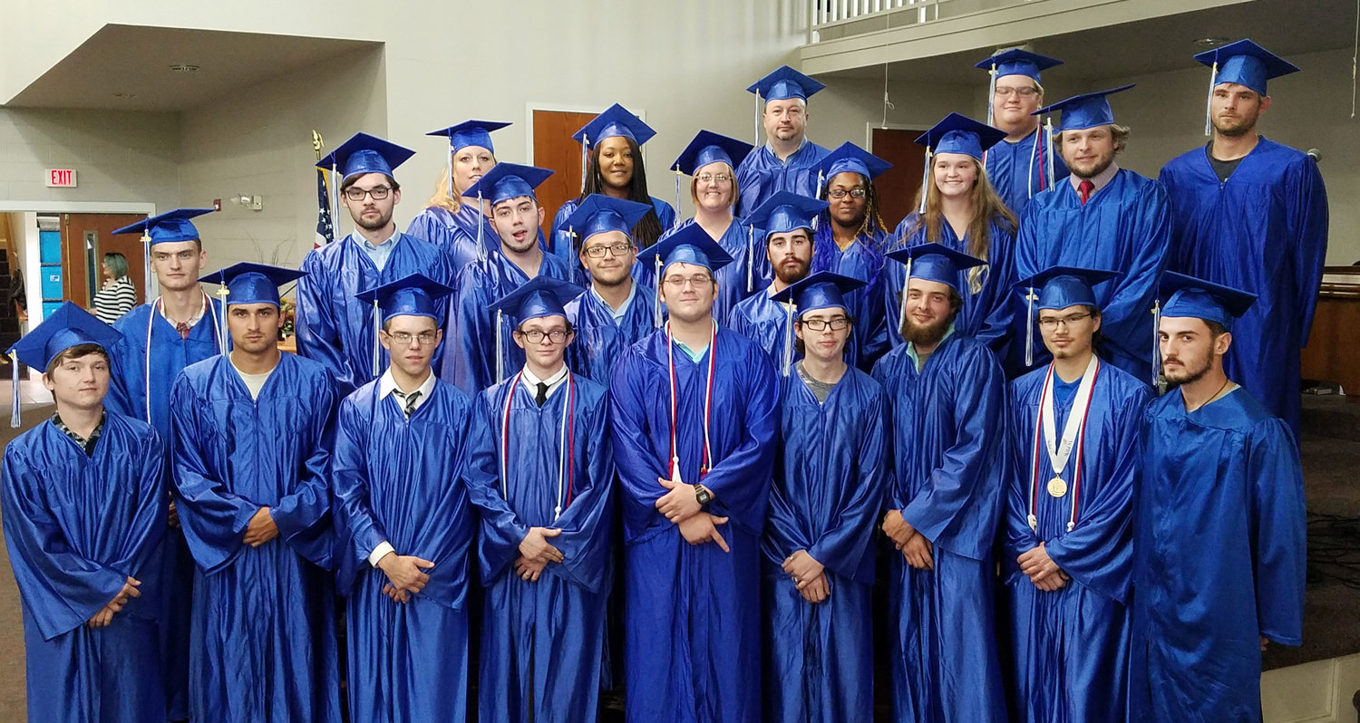 Pictured (L to R): First Row: Kenneth Park, Drake Hall, Kanyon Mealer, Jonathan Roland, Justin Christian, Dylan McCaig, Blake Damesworth, Nathan Kyle, and Tyler Winstead. Second Row: Tanner Owensby, Brandon Arnold, Austin Gottsacker, James McCord, and Patrick Wilkes. Third Row: Keela Winchester, Shareka Pearson, Sharon Cooper, Karey Johnson, Keeley Freeman, and Dylan Darnell. Fourth Row: Ruben Britton, Sean Chaney, and Justin Bryan.
