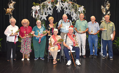 Senior King and Queen  Court: (From L to R) Fourth Maid Hettie Parham, Third Maid Carolyn Smothers, Second Maid Gertrude Harris, First Maid Kathy Norman, Queen Brenda Bell, King Norman Hillard, First Page John Mann, Second Page Burbon Sullivan, Third Page Bob Wendt and Fourth Page Ricky Gammons.