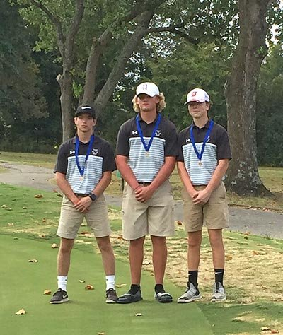 West Carroll High School's golf team competed in the District 13 Golf Tournament Monday. Pictured are (L to R): Dallas Montgomery, Jed Robinson and Trey Browning. Robinson was the lowest boys medalist with an 81. All three advanced to the Region 7 Tournament on Monday, also in Milan.