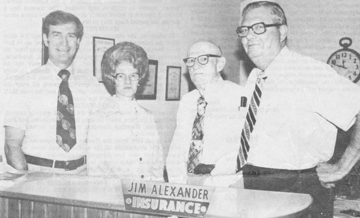 Keith Priestley (left) joined Jim Alexander Insurance in 1979, he later purchased the business. Pictured (L to R) with Priestley are Mable French, secretary of the agency; Roe Alexander, who had recently retired from the agency; and Jim Alexander.