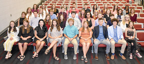 McKenzie High School Beta Club Inductees (L to R): Front Row — Emma Barnett, Jaden Barton, Wynter Baucum, Gracie Blount, Wesley Bynum, Shannan Cheney, Andrew Cole, Trey Cook and Dharma Dutton; Second Row — Dani Dyer, Will Essary, Sydney Fornera, Taylor Hall, Jonah Hampton, Raina Jones, Zayden McCaslin, Collin McLearen and Madison Minard; Third Row — Olivia Nolin, Sadie O'Brien, Duane Patrick, Andrew Pershell, Garrett Pettingill, Meya Prather, Claire Price, Blair Putman, Rhilee Roberson and Anna Robinson; and Back Row — Anna Grace Spivey, Natalie Stephens, Ashlyn Swinea, Rachel Umstead, Connor Viana, Landon Winchester, Isabelle Wright, Kandice Ward, Lydia Warren and Desteyana Allen. Not pictured are Bethany Gallimore, Hayden Hudson, Juleyanne Weatherford and Hadley Woodruff.