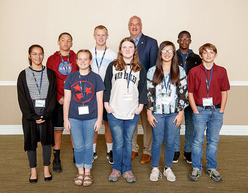 MARTIN (October 1) — Eight Carroll County students attended the WestStar Leadership Program's 2019 FutureStar Leadership Summit Tuesday at the University of Tennessee at Martin. FutureStar is a youth program for middle school students designed to build leadership skills and personal confidence for students in West Tennessee. Pictured are (L to R): Front Row — Kamrie High, Caidenz Nunnery, Adreanna Gulledge, Morgan Reynolds and Luke Gibson; Back Row — Da'Shaun Kinght, Christopher Beck, Dr. Charley Deal, WestStar executive director, and Onuix Butler. For more information on the WestStar Leadership Program or FutureStar, contact Virginia Grimes, program director, at 731-881-7298.