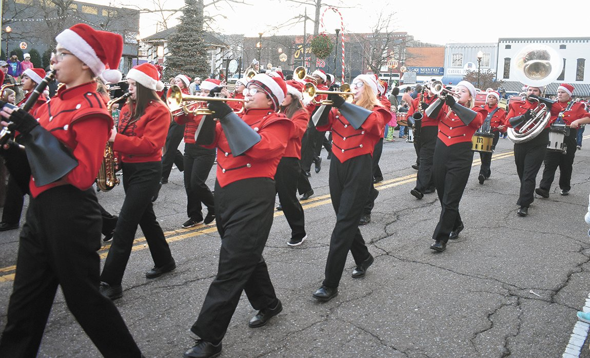"The McKenzie bands perform their medley, ""Twas the Parade Before Christmas."""